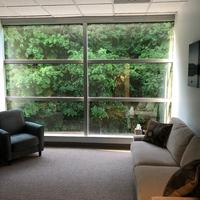 My office offers florr to celing windows and a wonderful view and the on way glass offers client privacy.